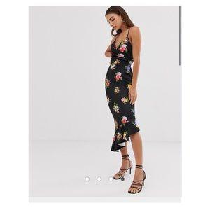 NWT Asos Scuba asymmetrical floral dress Sz 4